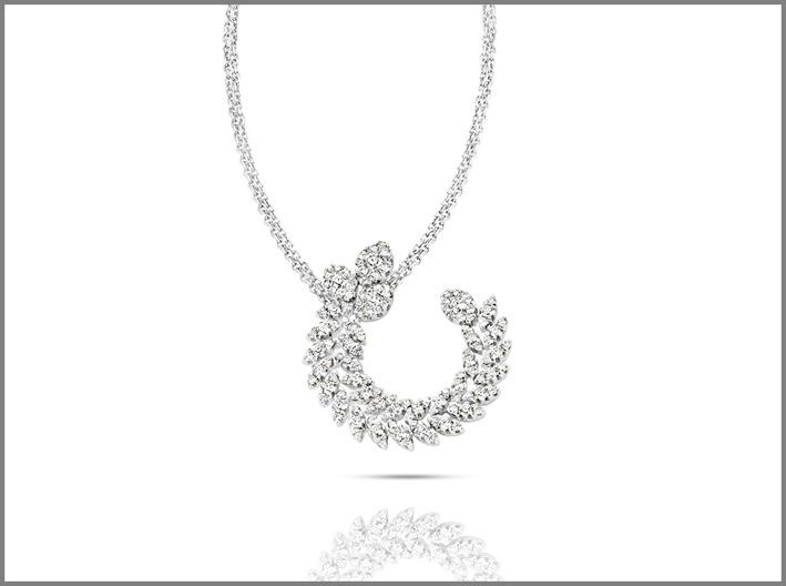 Pendente della collezione Diamond Passion in oro bianco e diamanti bianchi