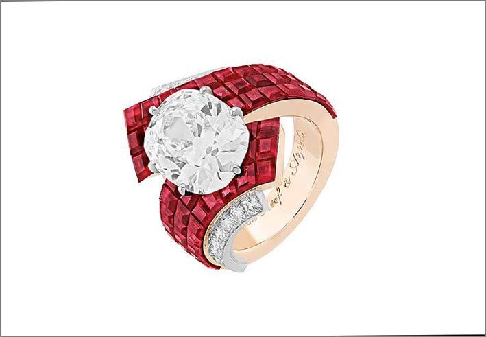 Rendering di anello con serti mistérieux