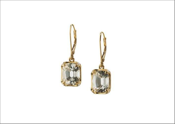 Orecchini con cristallo di rocca e diamanti