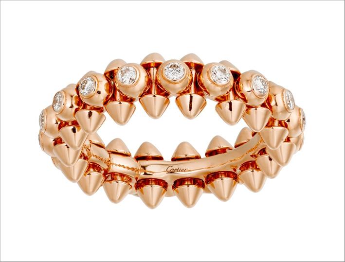 Anello della collezione Clash in oro rosa e diamanti