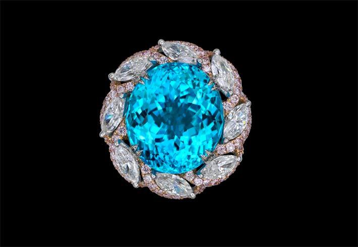 Anello con tormalina Paraiba di 13 carati non trattata e diamanti marquise