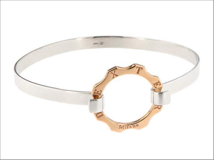 Bracciale in argento e oro rosa