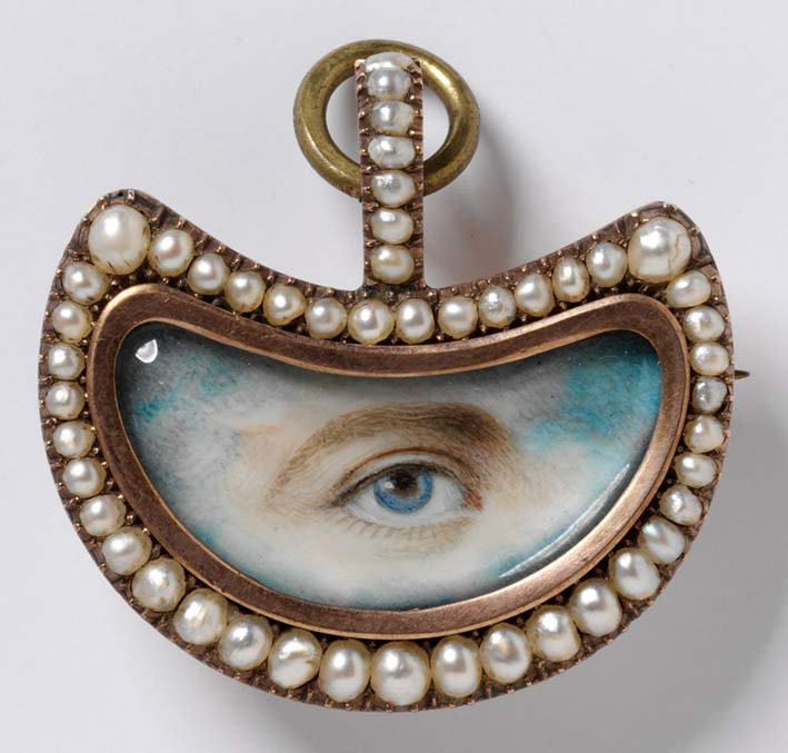 Lovers Eye, spilla inglese, circa 1800, in oro con perle e diamanti