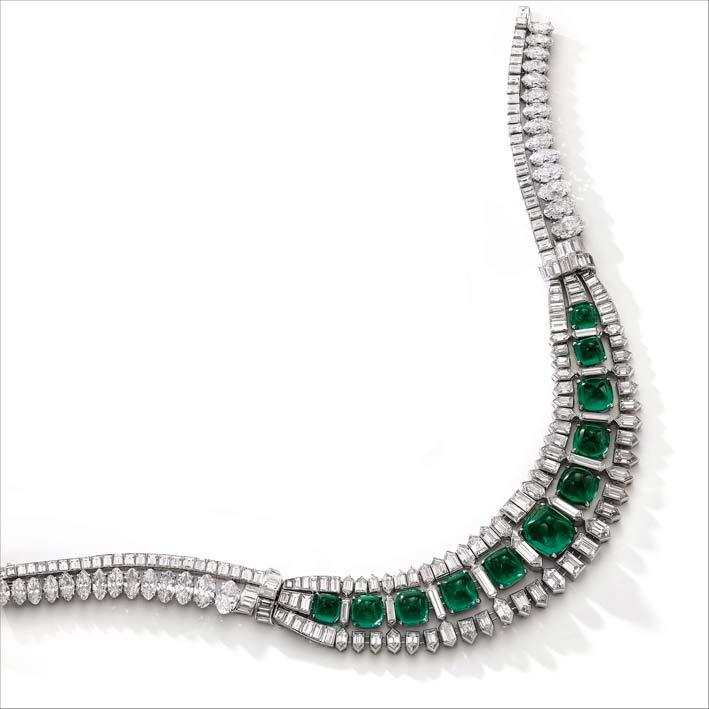 Collana di smeraldi e diamanti, circa 1935