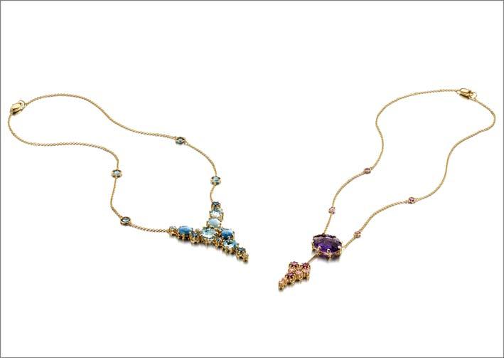 Nanis, collane New Ipanema in oro 18 carati e pietre naturali