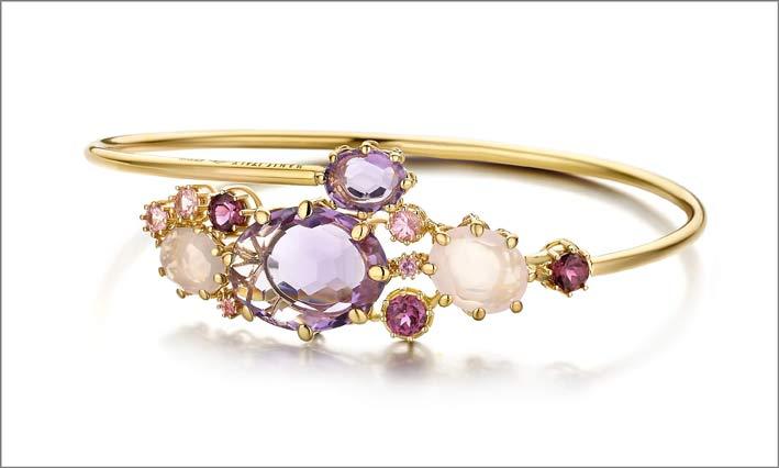 Bracciale in oro, diamanti, ametista, rodolite