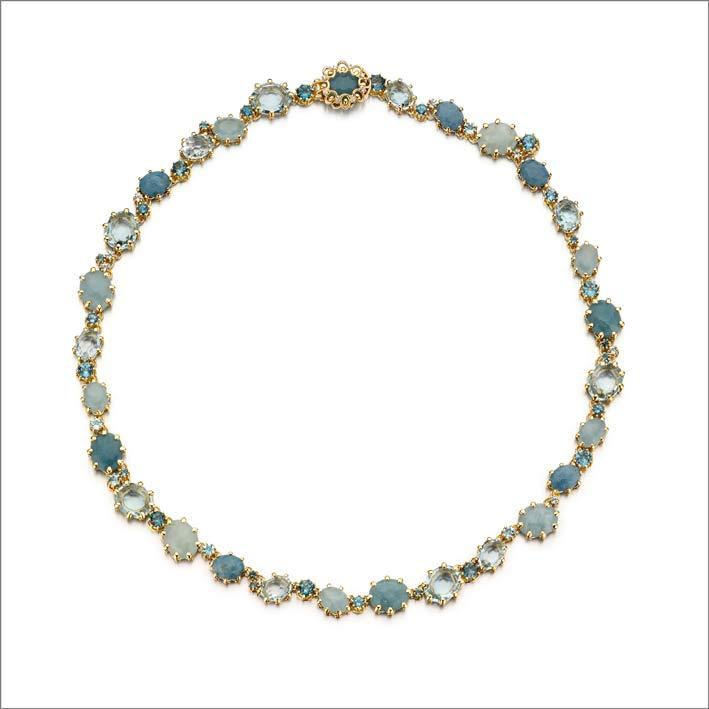 Collana in oro, diamanti e pietre naturali