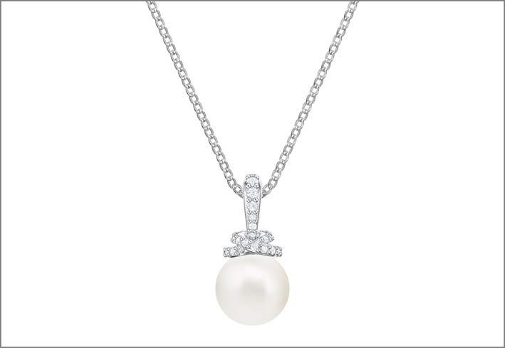Collezione Originally, collana in metallo rodiato, cristalli e Swarovski Crystal Pearl