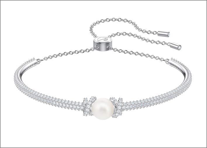 Collezione Originally, bracciale in metallo rodiato, cristalli e Swarovski Crystal Pearl