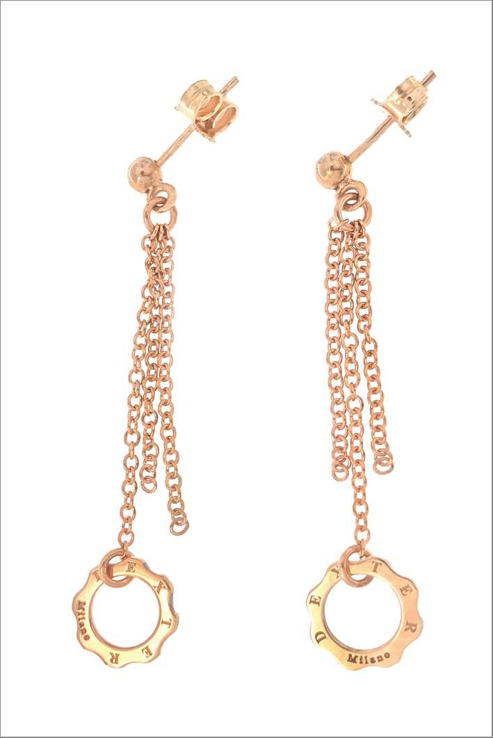 Orecchini pendenti con frange in oro rosa 9 carati
