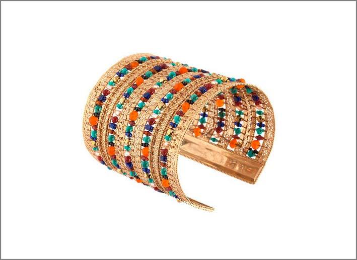 Bracciale con perle di fiume, perle del Giappone, spinello nero, corniola, turchese, lapislazzuli, granato rosso, giada, ematite dorata
