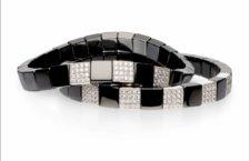 Bracciali della collezione Scacco in ceramica nera e diamanti