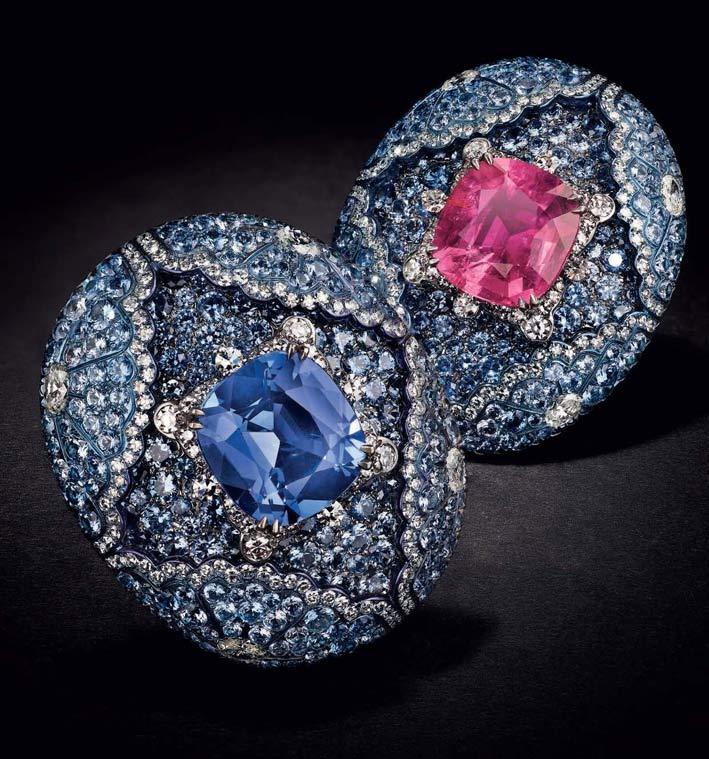 Orecchini con diamanti, tormalina e rubellite