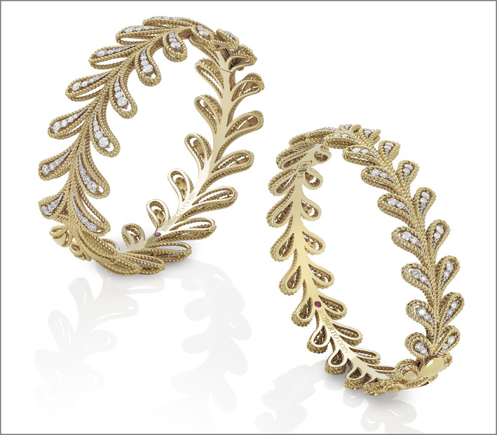 Roberto Coin, yellow gold twisted thread bangles with white diamonds