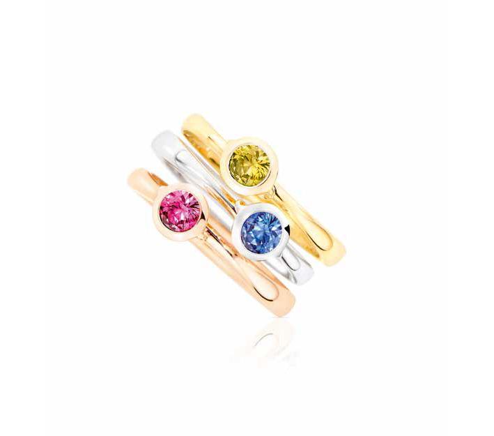 Anelli Bouton con zaffiri gialli e blu, e spinello rosa