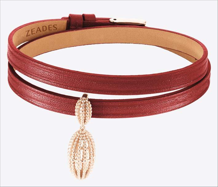 Bracciale in pelle rossa con ciondolo in argento placcato oro