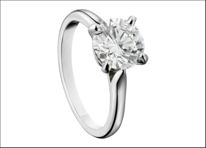 Cartier, solitario in Platino e diamanti