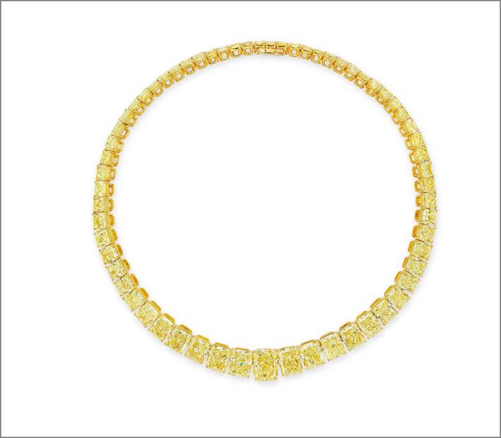 collana diamanti gialli