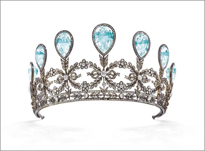 Diadema con acquamarine appartenuto alla gran duchessa Alexandra di Macklenburg-Schwerin