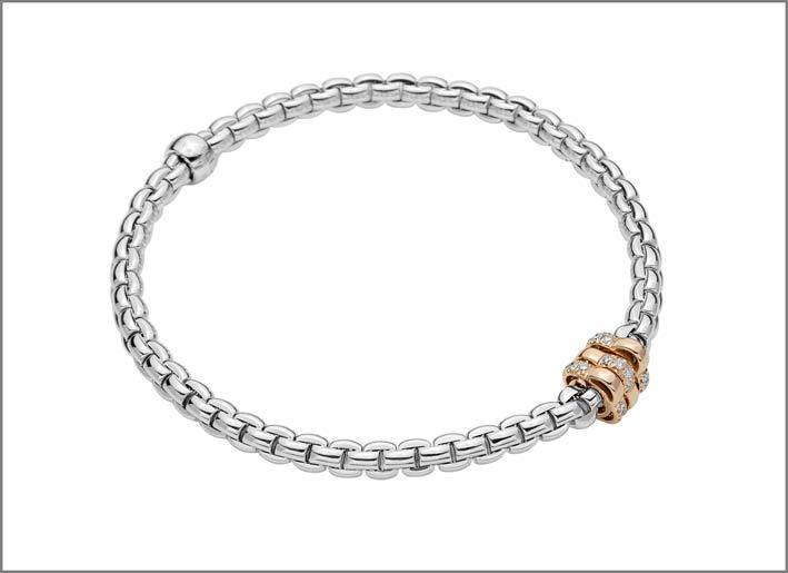 Fope, bracciale in oro bianco con rondelle in oro rosa e diamanti