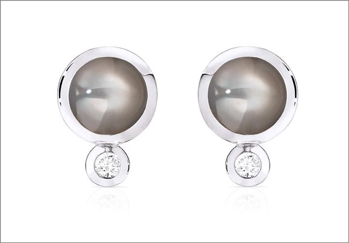 Tamara Comolli, orecchini in oro bianco, quarzo rutilato e diamanti