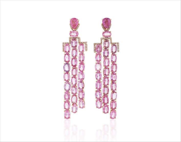 Orecchini in oro rosa e zaffiri rosa
