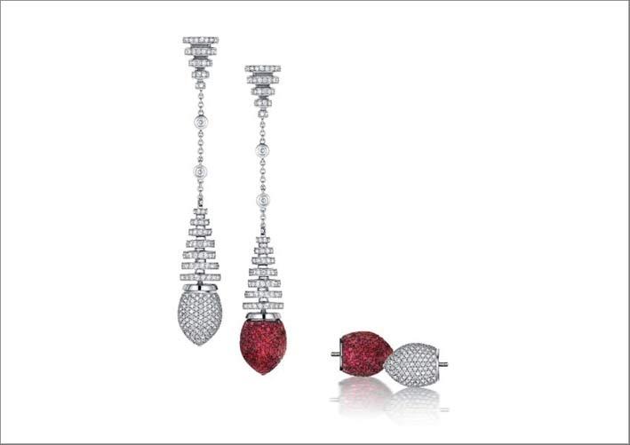 Orecchini intercambiabili in oro bianco, diamanti, rubini