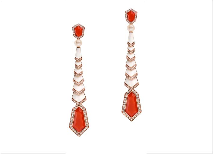 Pink gold with red coral, white enamel, white pearls and white diamonds earrings