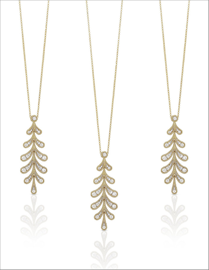New Barocco collection, yellow gold twisted thread pendant with white diamond