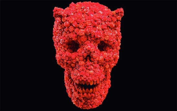 Teschio che si trova nel Museo del Corallo di Torre del Greco