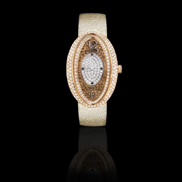 Dreamy: orologio gioiello in diamanti bianchi, neri e marroni su oro rosa. Movimento svizzero. Limitato a 50 pezzi