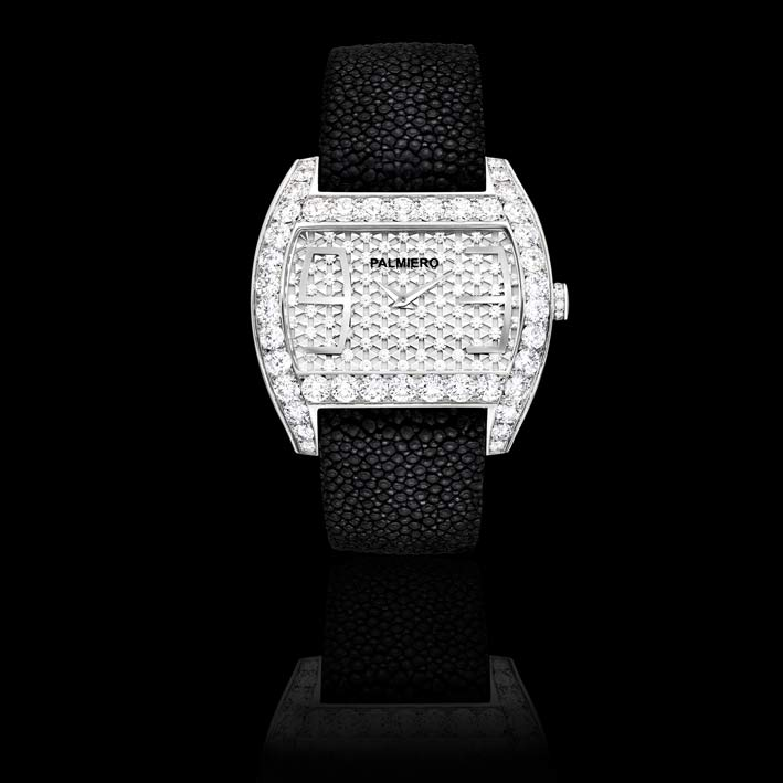 Ingrid: orologio gioiello in diamanti bianchi su oro bianco. Movimento svizzero. Limitato a 50 pezzi