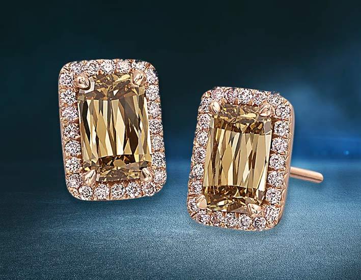 Orecchini con diamanti brown taglio Ashoka