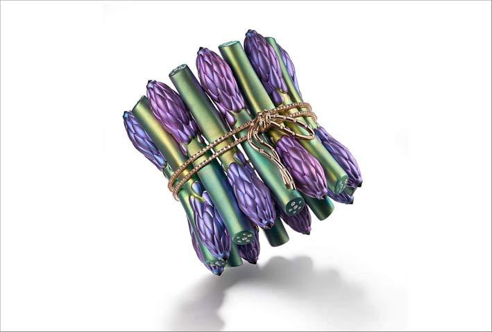 Suzanne Syz, bracciale Asparagus in titanio, oro, diamanti, ametiste