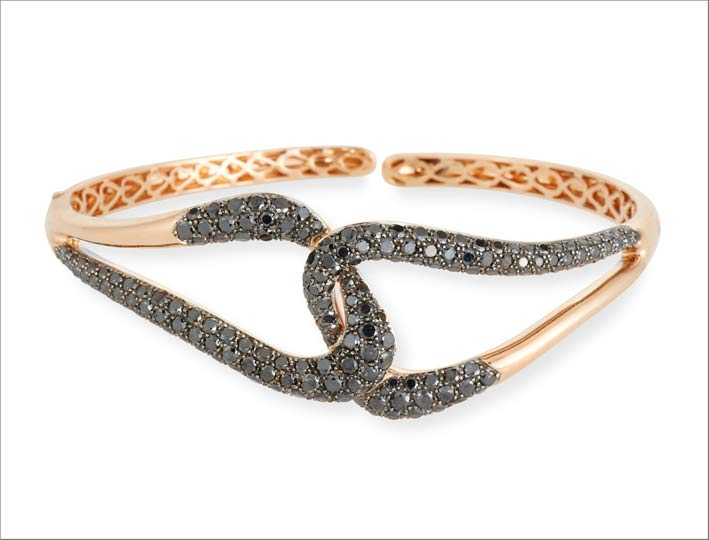 Bracciale di Etho Maria in oro 18 carati e diamanti neri