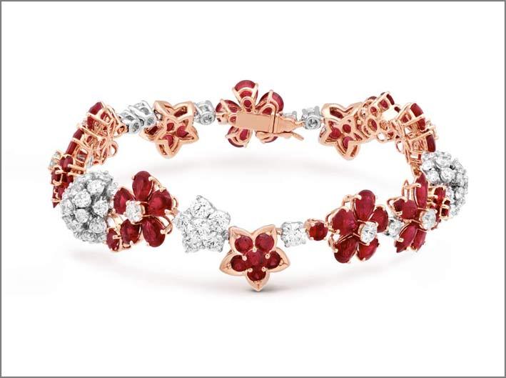 Bracciale Folie des Prés in oro rosa, rubini, diamanti