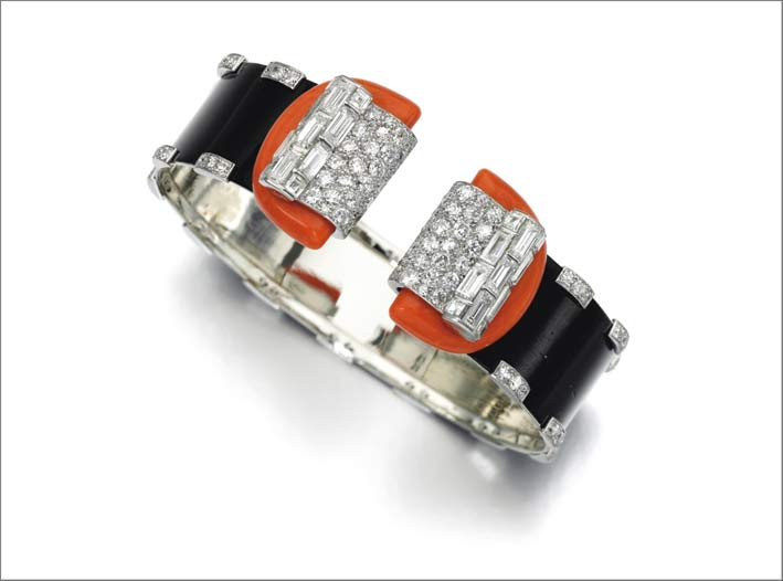 Braccialetto in corallo e diamanti, Cartier, 1933