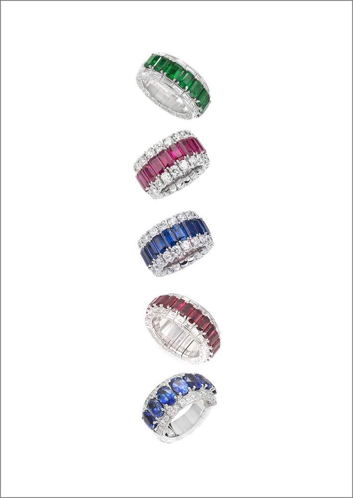Anelli in diamanti, zaffiri, rubini, smeraldi