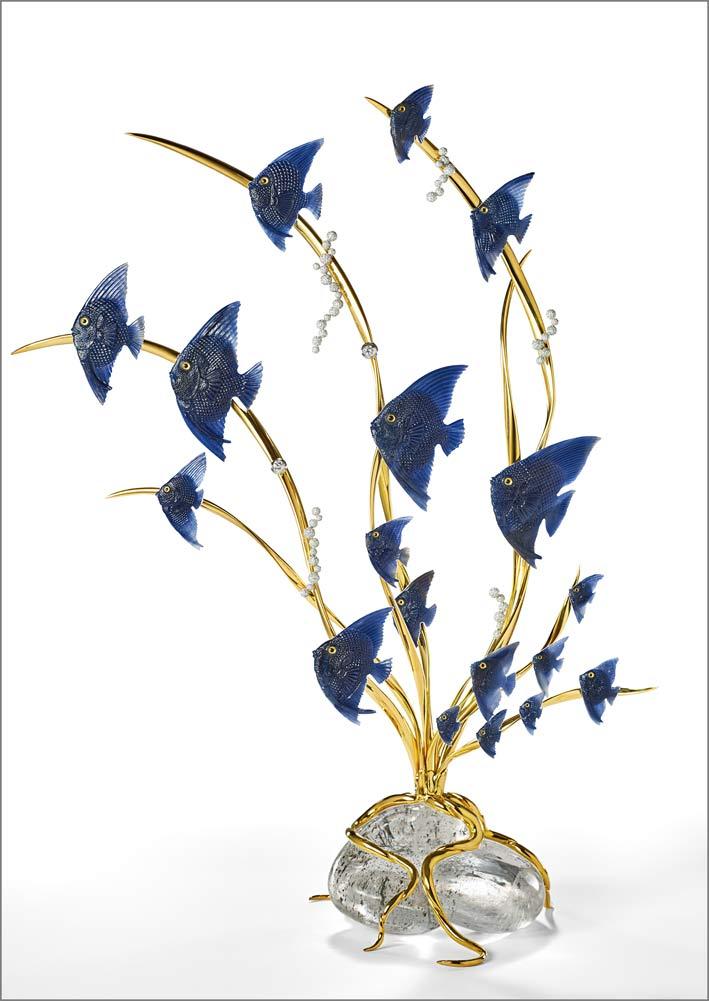 Pesci volanti realizzati in zaffiro