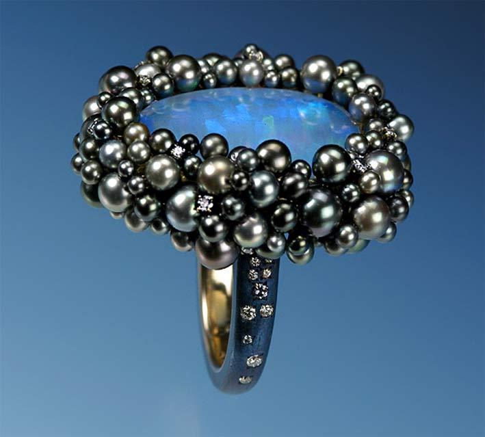 Anello con perle naturali, acciaio, oro