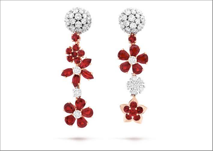 Orecchini Folie des Prés in oro rosa, rubini, diamanti