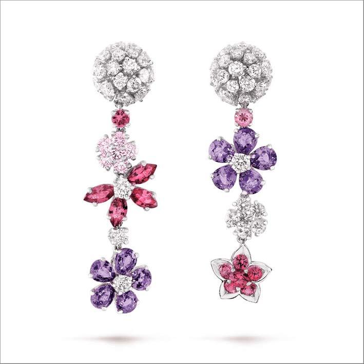 Orecchini in oro bianco, diamanti, zaffiri rosa e malva