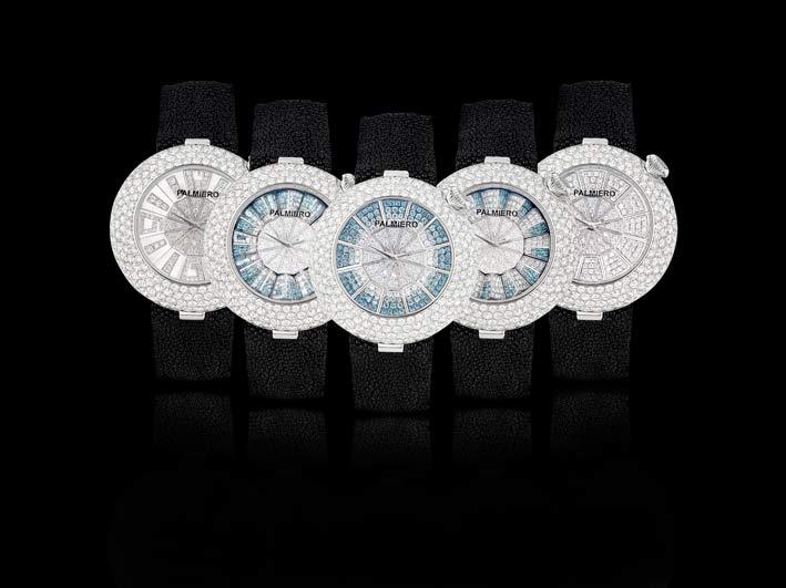 Alter Ego: orologio gioiello in diamanti bianchi e zaffiri viola degradè su oro bianco. Brevettato con tre quadranti che ruotano in un unico orologio, movimento svizzero. Limitato a 50 pezzi