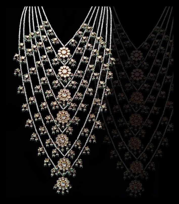Tradizionale collana Sath Lada nello stile del Deccan popolare durante il periodo del Nizam Of Hyderabad. Tradizionalmente composta da sette file di perle graduate per dimensioni, infilate su in oro, diamanti non tagliati e pietre preziose