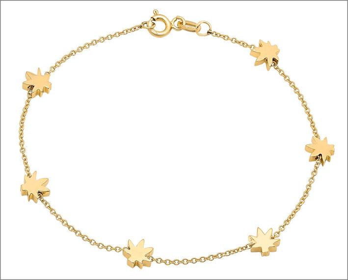 Un braccialetto d'oro con foglie di cannabis, spesso scambiato per stelle, di Established