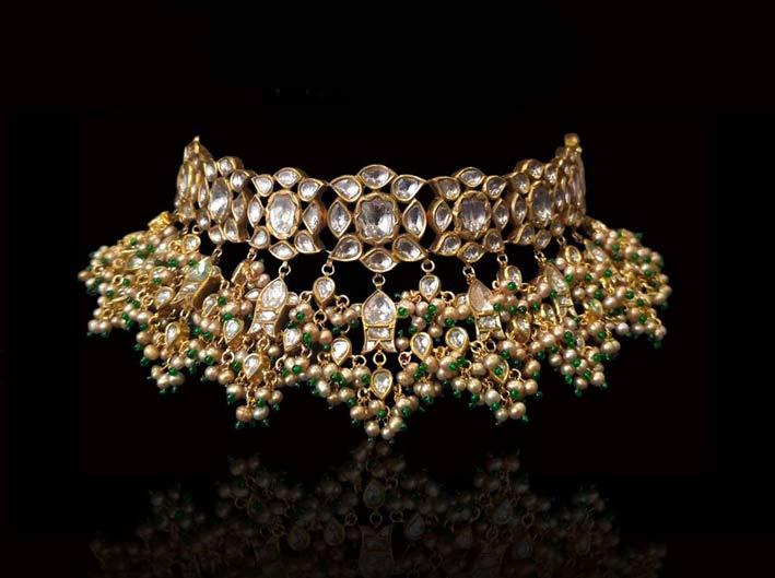 Choker tradizionale con diamanti taglio polki