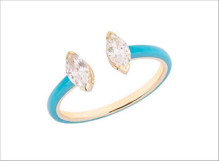 Anello in oro, ceramica azzurra, diamanti taglio marquise
