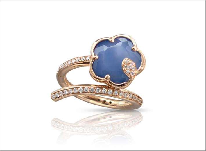Pasquale Bruni, anello in oro e diamanti con lapislazzulo e agata