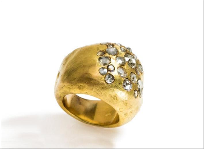 Anello in oro e diamanti rose-cut