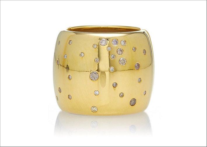 Anello per capelli in oro giallo e diamanti